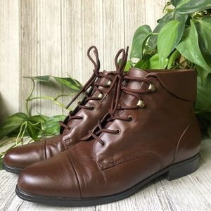 Vintage Lace Up Prairie Ankle Boots